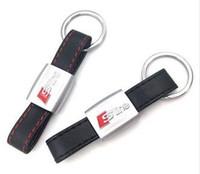 audi a4 aufkleber großhandel-Auto Auto Aufkleber Schwarz Rote Linie Leder Sport SLine für Audi 3 A4 A5 A6 TT RS Q5 Q7 S Linie Keychain Schlüsselanhänger Keyfob