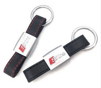 Wholesale Audi A6 S Line - Auto Car Sticker Black Red Line Leather Sport SLine for Audi 3 A4 A5 A6 A8 TT RS Q5 Q7 S Line Keychain Keyring Keyfob