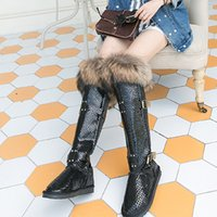 Wholesale Muscle Foxes - Wholesale- 2016 Fox Fur Nature Leather Winter Snow Boots Women Waterproof Over The Knee Long Boots Size 40
