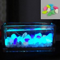 10 unids Luminoso emisor de luz Artificial <b>Pebble Stone Fish Tank</b> Acuario Decoración de Piedra