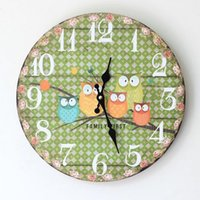 Wholesale Cartoon Wall Clocks - brass 2015 new wall clock Vintage style owl wall clock family for kids family brass