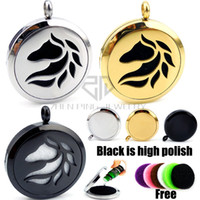 Wholesale Silver Aroma Pendant - With Chain Round Silver Horse Design (30mm) Essential Oils Diffuser Locket Aroma Free Stainless Steel Diffuser Locket Neaklace