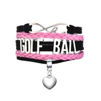 Wholesale Libra Chain - Antique Silver Plated GOLF BALL & LIBRA & TAURUS Matched a Heart Pendant Pink and Black Multilayer Braided Bracelets