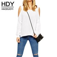 Wholesale Cut Out Knit Sweater - HDY Apparel Cold Shoulder Cut Out Knitted Sweaters Sashes Crew Neck Long Sleeve Pollover Party Club Jumpper Women Clothes