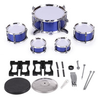 Wholesale Cymbals Children - Children Kids Drum Set Musical Instrument Toy 5 Drums with Small Cymbal Stool Drum Sticks for Boys Girls I1984X