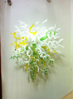 ingrosso lampadario di vetro giallo-Abstract Outdoor 110v-240v Lampade da parete a LED Giallo Bianco Verde Modern Art Decor Flower Glass Chihuly Chandelier