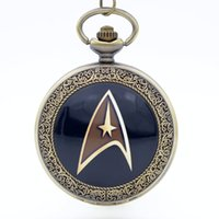 Wholesale Bronze Star Gifts - Vintage Bronze Star Trek Star Fleet Dome Quartz Pocket Watch Analog Pendant Necklace Men Women Watches Chain Kids Gift