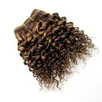 cheveux châtains aux cheveux bruns achat en gros de-Barroko Hair Ombre Kinkys Bouclés Cheveux Bundles F4 # / 27 # Péruvienne Virgin Curly Weave Extensions De Cheveux Doubles Dessinés Light Brown À Miel Blond