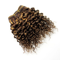 Wholesale Double Drawn Hair Extensions Brown - Barroko Hair Ombre Kinkys Curly Hair Bundles F4# 27# Peruvian Virgin Curly Weave Double Drawn Hair Extensions Light Brown To Honey Blond