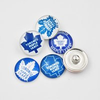 Wholesale Maple Leaf Charms Wholesale - 5 Newest Styles Toronto Maple Leafs Snaps Button Jewelry 18mm Glass NHL Hockey Teams Snap Charms For DIY Ginger Snap Jewelry