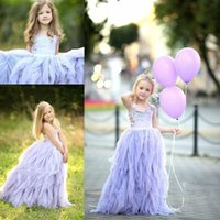 Wholesale Weddind Dresses - Lavender Halter Flower Girl Dresses For Weddind Ruffles Tulle Tiered Girls Pageant Dress Toddler Floor Length Kids Communion Dress