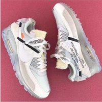 Wholesale Casual Sports For Woman - 2017 New Arrival Off White x Airs 90 Ice 10X AA7293-100 Sports Running Shoes for Women Men Casual Sneakers Size 36-45 Free Shipping
