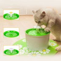 Wholesale Pet Water Fountains - Wholesale-Green Flower Style New Automatic Cat Dog Kitten Water Drinking Fountain Pet Bowl Drink Dish Filter