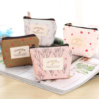 Wholesale wholesale girls change purse - Cute girl Cartoon coin purses refreshingly Tree Flower mini purse coin purse change purse key wallet women coin bags