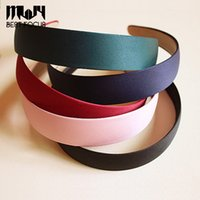 Wholesale Fabric Clasps - MLJY 8 colors Wide Plastic Headband Hair Band Accessory Wholesale Satin Headwear hair clasp hair accessories 6pcs lot drop shipping