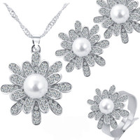Wholesale white pearl silver ring - 3 set Crystal Pearl Snowflake Necklace Earrings Ring Jewelry Sets with silver Gold Chain for Women Fashion Wedding Jewelry DROP SHIP 162196