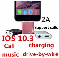 Wholesale Ios Support Cable - IOS 10.3 Support calls 2 in 1 Charger and Audio Iphone 7 7plus Earphone Headphone Headset jack Adapter Connector Cable 3.5mm