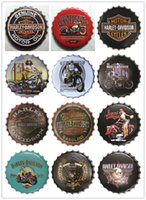 Wholesale Beer Bottle Metal Caps - Wholesale Harley designs high quality high quality embossed beer bottle cap design vintage Tin Sign Bar pub home Wall Decor Metal art Poster
