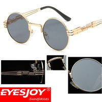 Wholesale Steampunk Bags - EYESJOY Steampunk Optical Metal Frames Round Sunglasses for Mens Women Fashion Brand Designer Vintage Sunglasses With Glasses Bag & Cloth