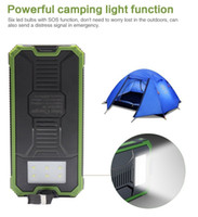 Wholesale Solar Universal Charger Mp3 - New outdoor Solar power bank 20000 mah mobile powerbank universal portable solar charger LED light solar battery