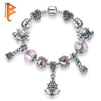 Wholesale Glass Locket Bracelet Chain - BELAWANG Silver Turtles Pink Murano Glass Bead Female Bracelet With Locket Heart Charm Strand Bracelet Bijoux Women Clothing Accessories