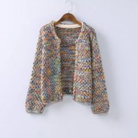 Wholesale Women Long Colorful Cardigans - Wholesale-New Fashion Autumn Winter Women's Colorful Wool Cardigans Long Sleeve Warm Knitted Sweater