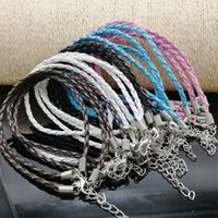Wholesale Mix Color Braided Leather Bracelet - 50 PCS 3 mm leather cord bracelet chain wear beads or pendant PU braided bracelet DIY manual five-color mix