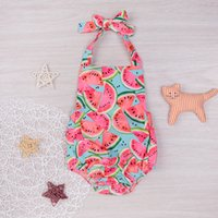 Wholesale Cute Christmas Girl Outfits - Mikrdoo Summer Cute Watermelon Rompers Newborn Baby Girls Sleeveless Backless Halter Romper Jumpsuit Cotton Sunsuit Outfit 0-24M