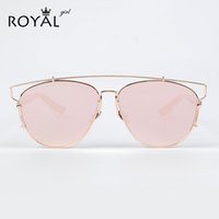 Wholesale Copper Wire Flat - Wholesale-ROYAL GIRL New Brand Designer Women Sunglasses Metal Wire Top Flat Sun glasses Cat Eye Shades for women ss423