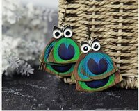 Wholesale Europe Owl - True peacock feathers pendant long earrings owl female fashion stud earrings individuality jewelry in Europe and America