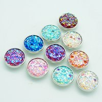 Wholesale Diy Resin Bracelets - 20pcs New Fashion 18MM Shinning shattered Resin ginger snap buttons fit DIY Ginger snap jewelry bracelet Wholesale