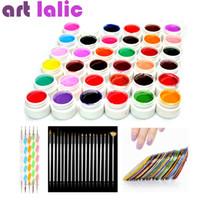 Wholesale Tapes Dots Nail - Wholesale- 36 Color UV Gel DIY Manicure Set Nail Art Tools Brushes Tips Dotting Polish Striping Tape Kit