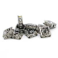 Wholesale Metal Square Letter Beads - Wholesale Square Spacer Beads 100PCS Crystal Rhinestone Black Lead Plated Metal Beads DIY Jewelry, 6mm 8mm 10mm, IA03-03