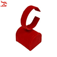 Wholesale Jewelry Bangle Organizer - Free Shipping Red Velvet Jewelry Display Holder Wedding Gold Bangle Display Rack Bracelet Watch Organizer Stand