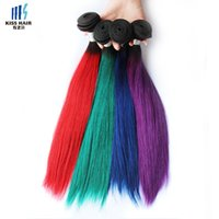 Wholesale Purple Indian Hair Extensions - 300g T 1B Purple Green Blue Red Two Tone Ombre Human Hair Bundles 14 16 18 inch Quality Colored Brazilian Straight Hair Extensions