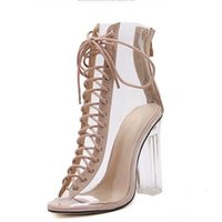 Wholesale Clear Jelly Shoes Women - 2017 New Sexy PVC Transparent Gladiator Sandals Peep Toe Shoes Clear Chunky heels Sandals Mujer Women Boots Jelly Rain Boots