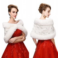Wholesale Sequin Shrugs - Cheap Faux Fur Wedding Wraps Shrug Bridal Gowns Warm Shawls Adjustable Cape Stock Bolero For Ladies Formal Wear CPA917