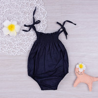 Mikrdoo Fashion Baby Girl Romper 2017 New Summer Style Girls Top Clothes Newbron Retro Black Children Clothing 0-18 Month Jumpsuit Wholesale