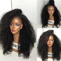 Wholesale Glueless Virgin Human Kinky Curly - Best Quality Kinky Curly Full Lace Wig 130% Density Glueless Brazilian Virgin Human Hair Lace Front Wigs For Black Women