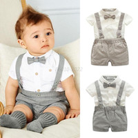 Wholesale Baby Gentleman Spring - 2017 Baby kids 3 Pieces sets Gentleman suit Kids boy 100% cotton white skirt + rompers +bow tie kids clothing sets free shipping 2 colors