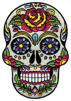 Wholesale Day Dead Skulls - Low Price Custom Sugar Skull Calavera Patch Embroidered Iron-On Skeleton Day of the Dead Emblem Free Shipping
