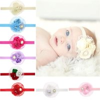 Wholesale Hairband Lace Baby - 8PCS Flower Lace Infant Baby Headbands Fashion Girl Hairband Headwear Kids Baby Photography Props NewBorn Baby Hair bands Accessories
