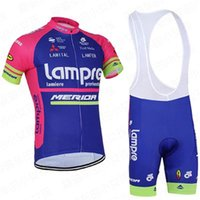 Wholesale Merida Bicycle Jerseys - 2017 TEAM Lampre Merida cycling jersey 3D gel pad bibs shorts Ropa Ciclismo pro cycling clothing mens summer bicycle Maillot Suit