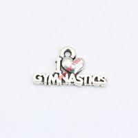Wholesale Gymnastics Charm Bracelet - Wholesale- I Love Gymnastics Charms Antique Silver Plated Pendant Bracelets Necklace Jewelry Making Accessories DIY 11x20mm