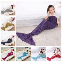 Wholesale Cartoon Sleeping Bags - Mermaid Tail Blanket Knitted Adult Mermaid Crochet Blankets Cartoon Fish Tail Sleeping Bag Handmade Costume Sofa Air-condition Blankets J334