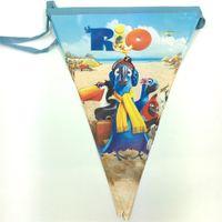 Wholesale Rio Movie - Wholesale- 24pcs Rio cartoon theme paper banner bunting ,party decoration flag,23*30cm Movie Character