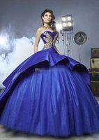 sweetheart or satin dress achat en gros de-Bleu Royal 2017 Robe De Bal Robe De Quinceanera Robes Appliques De Broderie De Perles Perles Dorées Satin Tulle De Luxe Douce 16 Robes Balayage Train