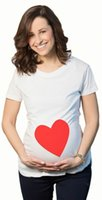 Wholesale Lovely Maternity Clothes - new Pregnant Clothes Lovely T shirt red love heart Printed Pregnant Women T-shirts Maternity Casual tees short sleeve Clothes