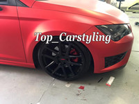 Wholesale wrapped car red chrome resale online - Matte Chrome Ice Red Vinyl Car Wrapping matt Film For Car Vehicel styling With Air Release Bubble Free Covering foil x20m Roll