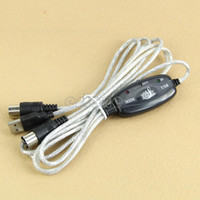 Wholesale Midi Cables Converters - Wholesale- MIDI USB IN-OUT Interface Cable Cord Line Converter PC to Music Keyboard Adapter